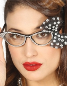 50er Jahre Brille mit weißen Perlen für Damen