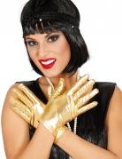 Kurze Handschuhe für Damen im Metallic-Look gold