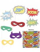 Superhelden-Fotoset Comic-Motiv 9-teilig bunt
