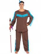 Tapferer Indianer Herrenkostüm braun-blau