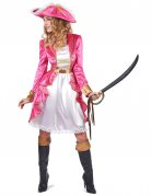 Elegantes Barock-Piratin-Damenkostüm pink-weiss