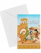 Einladungskarten Cowboy und Indianer 6 Stück bunt 10 x 15 cm