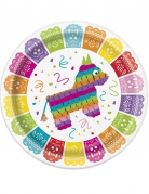 Pappteller Mexiko 8 Stück bunt 23 cm