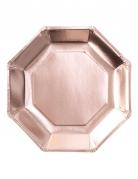 Pappteller achteckig Tisch-Deko 8 Stück roségold 25cm