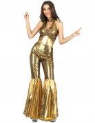 Glänzendes Disco-Damenkostüm ärmellos gold