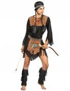 Indianerin-Damenkostüm Western schwarz-braun