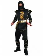 Tapferer Ninjakrieger Ninjakostüm für Herren mit Drachenmotiv schwarz-gold