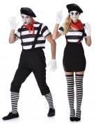 Pantomimen Kostüm-Set für Paare schwarz-weiss-rot