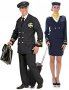 Pilot und Stewardess Paarkostüm blau-gold