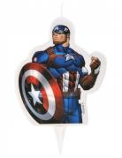 Captain America™-Kerze mit Halter Marvel™-Kuchendeko blau-rot-weiss 6x7,3cm