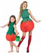 Erdbeer-Paarkostüm für Erwachsene und Kinder rot-grün