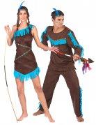 Indianer-Paarkostüm für Mann und Frau braun-blau