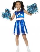Cheerleaderkostüm für Kinder Karneval blau-weiss