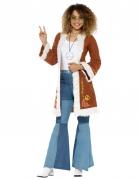 Kunstfell-Mantel Hippie-Kostuemzubehör braun-weiss
