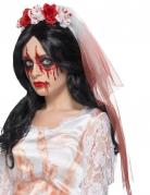 Zombie-Brautschleier Halloween-Accessoire weiß-rot