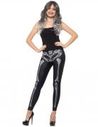 Skelett-Leggings Damen Halloween schwarz-weiß