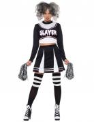 Gothic-Cheerleader Kostüm für Damen Halloween schwarz-weiß