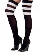 Overknees für Damen Kostüm-Accessoire schwarz-weiss