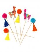 Lama und Pompon-Spieße Partydeko 12 Stück bunt 18cm