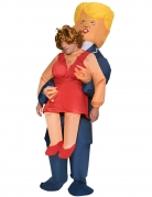 Politiker-Huckepackkostüm aufblasbar Morphsuits™ Faschingskostüm blau-rot-gelb