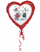 Folienballon Minnie™ und Micky™ Herz schwarz-weiss-rot 43x43cm