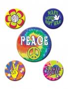 Hippie-Abzeichen-Set 5 Stück bunt 3,5 und 6cm