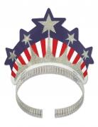 Pailletten-Krone Freiheitsstatue Amerika-Fanartikel silber-blau-rot