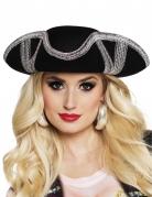 Piraten-Hut Dreispitz für Erwachsene schwarz-silberfarben
