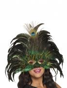 Extravagante Pfauenmaske Federmaske für Damen grün-schwarz