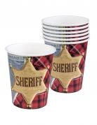 Cowboy-Trinkbecher Sheriff 6 Stück bunt 250ml