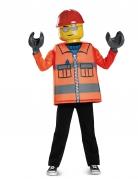 Bauarbeiter Lego™-Kostüm für Kinder Karneval orange-gelb