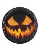 6 Kürbis-Pappteller Halloween-Dekoration schwarz-orange 23cm