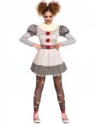 Psycho-Clown-Kostüm für Damen Halloween weiss-grau-rot