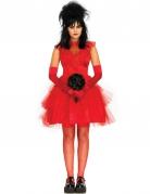Gothic-Braut Damenkostüm Halloween rot-schwarz
