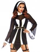 Sexy Nonnenkostüm für Damen schwarz-weiss