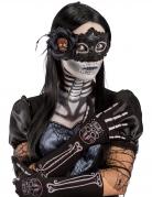 Handschuhe Día de los Muertos Damen Halloween-Accessoire schwarz-weiss