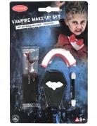 Vampir-Schminkset mit Gebiss und Kunstblut Halloween-Make up rot-weiss