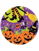 Halloween-Pappteller 8 Stück Dekoration orange-violett 23cm