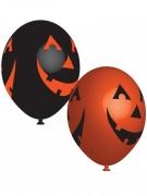 Kindgerechte Halloween-Ballons mit Kürbis-Motiven 6 Stück orange-schwarz 27cm