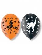 Halloween-Luftballons 6 Stück orange-schwarz 27,5cm