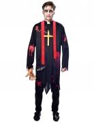 Priester-Zombie Herrenkostüm Halloween schwarz-rot