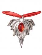Fledermaus-Medaillon Vampir-Halskette silber-rot 48cm