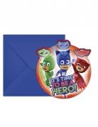 PJ Masks™-Einladungskarten mit Umschlag Partydeko bunt 14x9 cm