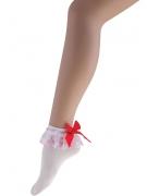 Spitzen-Socken mit Schleife weiss-rot