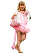 Flamingo Huckepackkostüm für Kinder Karneval rosa