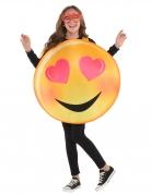 Verliebtes Lachgesicht-Kostüm für Kinder Karneval gelb-rosa