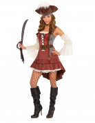 Piratenkostüm für Damen Karneval rot-braun-weiss