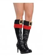 Weihnachts-Überstiefel Weihnachtsfrau für Damen Weihnachts-Accessoire schwarz-rot-gold