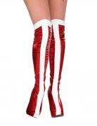 Wonder Woman™-Überstiefel für Damen Kostüm-Accessoire rot-weiss