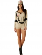 Ghostbuster™-Damenkostüm Overall Faschingskostüm beige-schwarz